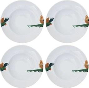 Catchii | 4x pastaborden 27 cm Lovebird diameter 27 cm wit, groen, geel borden porselein koken & tafelen servies | NADUVI outlet