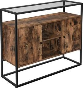 Nancy´s dressoir - Zijkast - Dressoir - Keukenkast - Industrieel - Spaanplaat - Vintage - Bruin met zwart - 100 x 35 x 80 cm