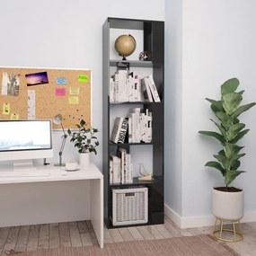 Boekenkast/kamerscherm 45x24x159 cm spaanplaat hoogglans zwart