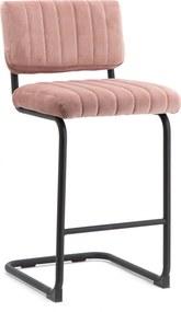 By-Boo Barstoel Operator (zithoogte 68cm) Velvet, kleur Roze