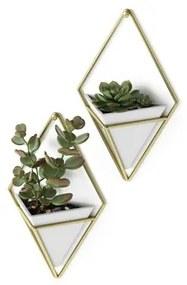 Umbra Trigg plantenhouder 6x11x19cm 2 stuks hangend keramiek wit/goud 470753-524