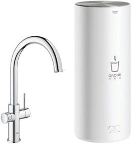 Grohe Red New Duo kokend water kraan met C-uitloop en Combi boiler chroom