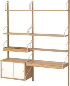 SVALNÄS Wandwerkplekcombinatie 150x35x176 cm bamboe/wit