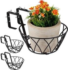 Bloempothouder balkon - houders voor bloempotten - 3 stuks - metaal - pothouder M