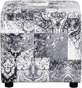 Hocker Milan - zwart/wit - stof Vintage - 46x46x46 cm - Leen Bakker