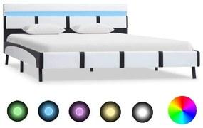 Medina Bedframe met LED kunstleer wit 160x200 cm