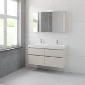 Bruynzeel Pinto badmeubelset 65.3x120x46cm 2 kraangaten 2 wasbakken 4 lades met spiegelkast met softclose composite kasjmier grijs 123102359