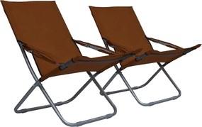 Strandstoelen 2 st inklapbaar stof bruin