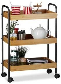 Bamboe theewagen - serveerwagen - keukentrolley - 3 etages - bijzetwagen hout