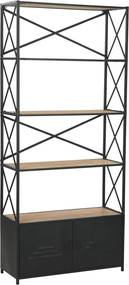 Boekenkast 80x32,5x180 cm massief vurenhout en staal