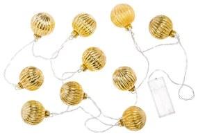 Lichtsnoer kerstbal - 10 stuks - 165 cm
