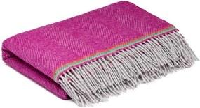 Ledikantdeken wol roze visgraat