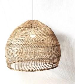 Rotan / Rieten Hanglamp, Handgemaakt, Gebleekt, ⌀60 cm
