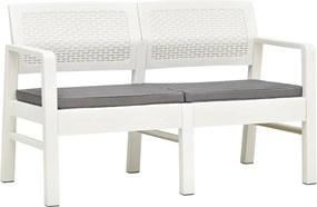 Tuinbank met kussens tweezits 120 cm kunststof wit