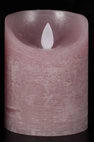 Batterijverlichting kaars wax rustiek bewegende vlam 7,5x10cm roze 3xaaa/timer