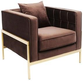 Kare Design Loft Fluwelen Fauteuil Modern Bruin