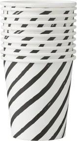 Papieren Bekertjes - 220 Ml - Zwart/wit Gestreept - 10 Stuks (zwart/wit)