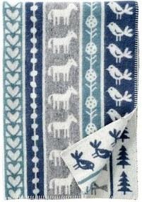 Ledikantdeken wol Nature grijs, blauw