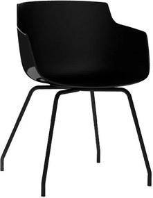 MDF Italia Flow Slim Armchair stoel zwart met stalen onderstel antraciet