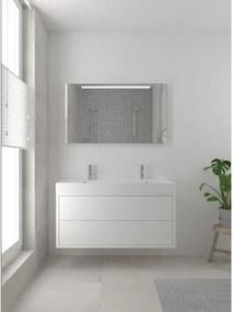 Bruynzeel Box badmeubelset 120x45cm 2 kraangaten 2 wasbakken 2 lades met spiegel met softclose composite mat wit 123102069