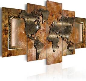 Schilderij - Stalen wereldkaart (staal look, dus canvas) 5 luik