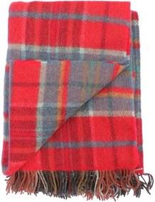 Plaid wol: rood-steenoranje, blauw, oker