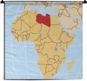 Wandkleed Libië illustratie - Illustratie van Libië op de Afrikaanse kaart Wandkleed katoen 60x60 cm - Wandtapijt met foto