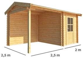 Blokhut met overkapping Fenna 450 cm bij 250 cm diep Zadeldak