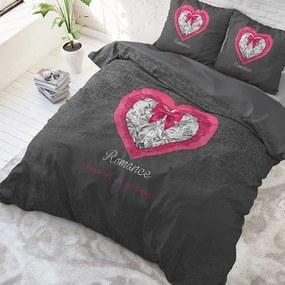 Sleeptime Elegance Romance Heart - Antraciet 1-persoons (140 x 220 cm + 1 kussensloop) Dekbedovertrek