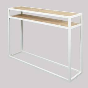 Spinder Design Diva Metalen Sidetable Met Eiken Wit - 120 X 30cm.