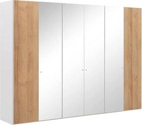 Goossens Kledingkast Easy Storage Ddk, Kledingkast 304 cm breed, 220 cm hoog, 2x draaideur en 4x spiegel draaideur midden