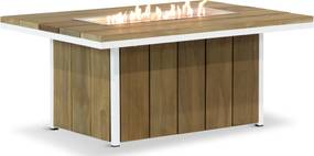 Lifestyle Seaside teak lounge vuurtafel 120 x 80 cm wit