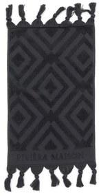 Rivièra Maison - RM Chic Guest Towel anthracite 50x30 - Kleur: grijs