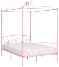 Hemelbedframe metaal roze 120x200 cm
