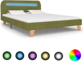 Bedframe met LED stof groen 140x200 cm