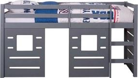 Halfhoogslaper Ties (incl. hutwanden) - grijs - 90x200x112 cm - Leen Bakker