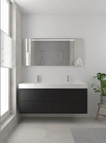 Box badmeubelset 150 cm dubbele waskom | spiegel- zijde zwart
