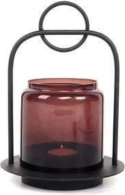 XLBOOM | Lantaarn Halo small: hoogte 23 cm x breedte 16.5 cm zwart, rood lantaarns roestvrij staal met poedercoating, decoratie | NADUVI outlet