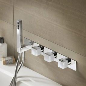 Badkraan Hotbath Bloke Inbouw Thermostatisch Vierkant Glans Chroom 3 Greeps met Handdoucheset