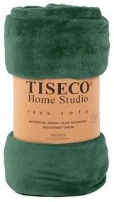 Tiseco Home Studio Cozy Velvet Plaid - Donkergroen 130 x 160