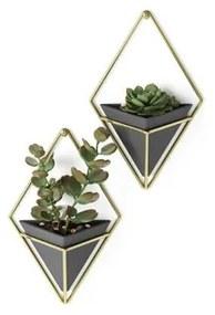 Umbra Trigg plantenhouder 6x11x19cm 2 stuks hangend keramiek zwart/goud 470753-1137