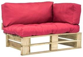 Medina Tuinbank met rode kussens pallet grenenhout