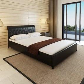 Medina Bed met matras kunstleer zwart 140x200 cm
