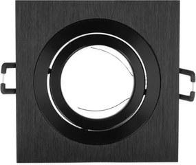 Inbouwspot, Vierkant, Kantelbaar, Geborsteld Aluminium, Zwart