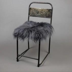 Stoelkussen - IJslandse schapenvacht donkergrijs- stoelpad - tuinkussen
