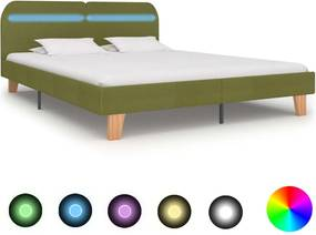 Bedframe met LED stof groen 160x200 cm