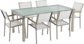 Tuinset matglas/RVS enkel tafelblad 180 x 90 cm met 6 stoelen wit GROSSETO