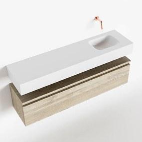 MONDIAZ ANDOR 120cm toiletmeubel light brown grey. LEX 120cm wastafel talc rechts geen kraangat