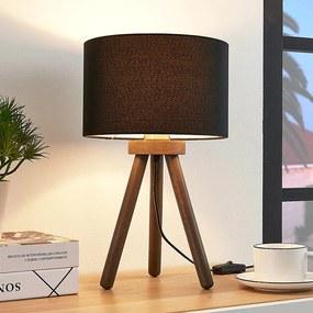 Stoffen tafellamp Majken - donkergrijs/zwart - lampen-24
