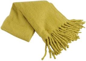 Plaid geel Mosterd, wolmix